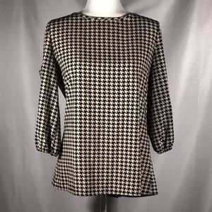 Cream Black Houndstooth Blouse with Bow on Back